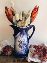 Load image into Gallery viewer, Antique Blue Roses Staffordshire Ironstone Vase / Jug