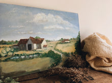 Load image into Gallery viewer, Vintage French Farm House Oil Painting