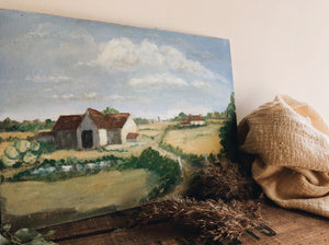 Vintage French Farm House Oil Painting