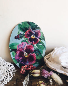 Vintage Signed Oval Pansy Oil Painting