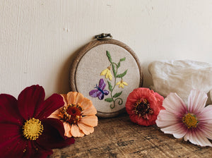 Vintage Butterfly Embroidery Hoop / Hanging