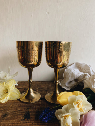 A Pair of Antique Decorative Etched Goblets