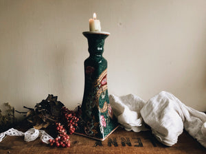 Large Vintage Hand~painted Ceramic Candle Stick