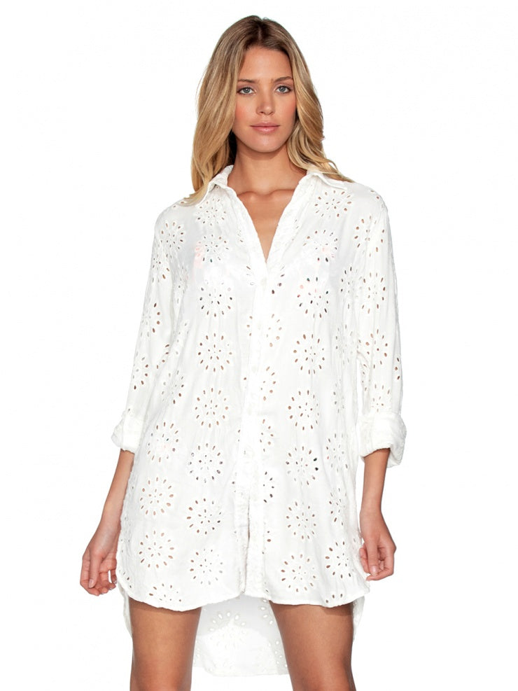Long Shirt White Eyelet