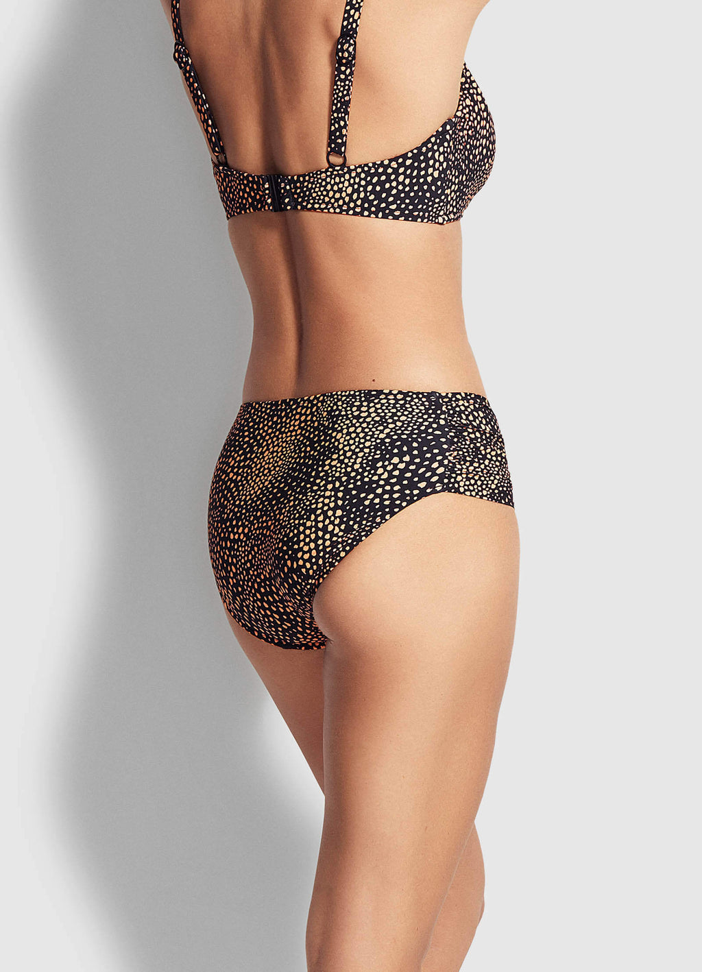 Ruched Side Bottom Safari Spot Black