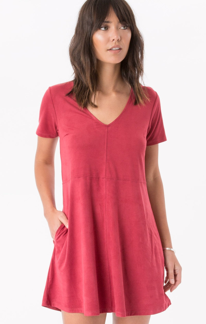 Suede Shift Dress Ruby