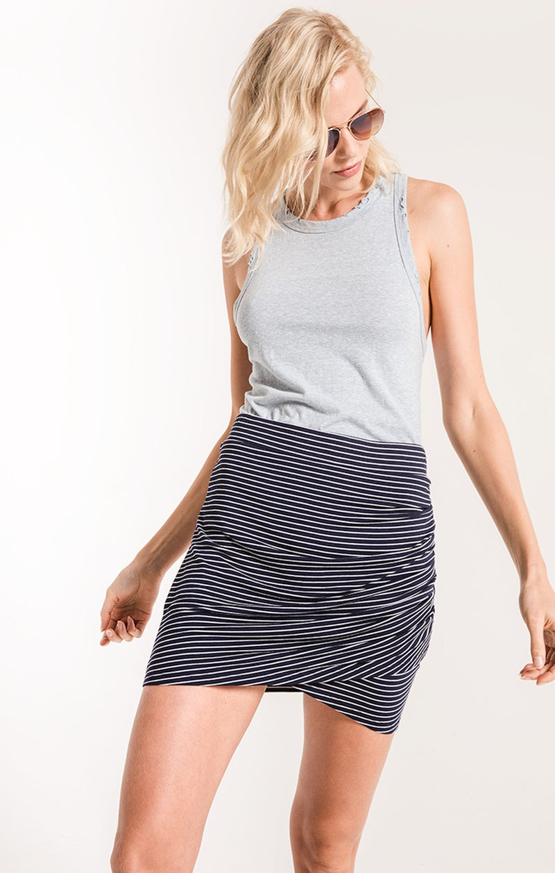 Wrap Skirt in Micro Stripe