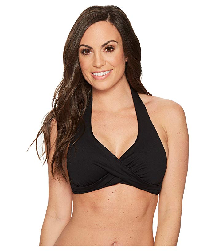 D Cup Twist Halter Black