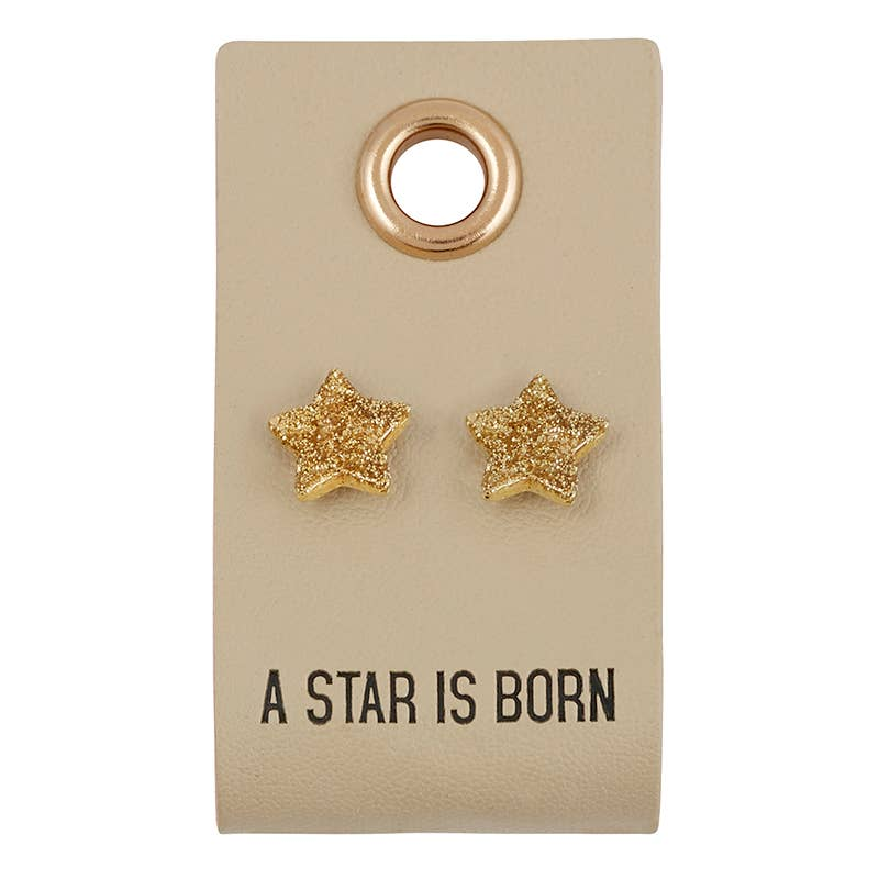 Leather Tag Earrings Star