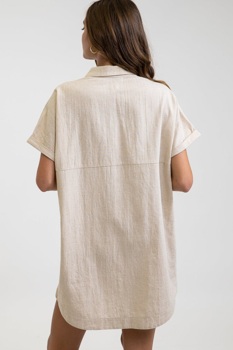 Linen Mini Button Up Shirt Dress Sand