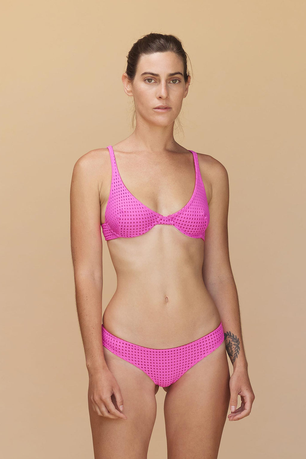 Geneva Mesh Top Neon Rose