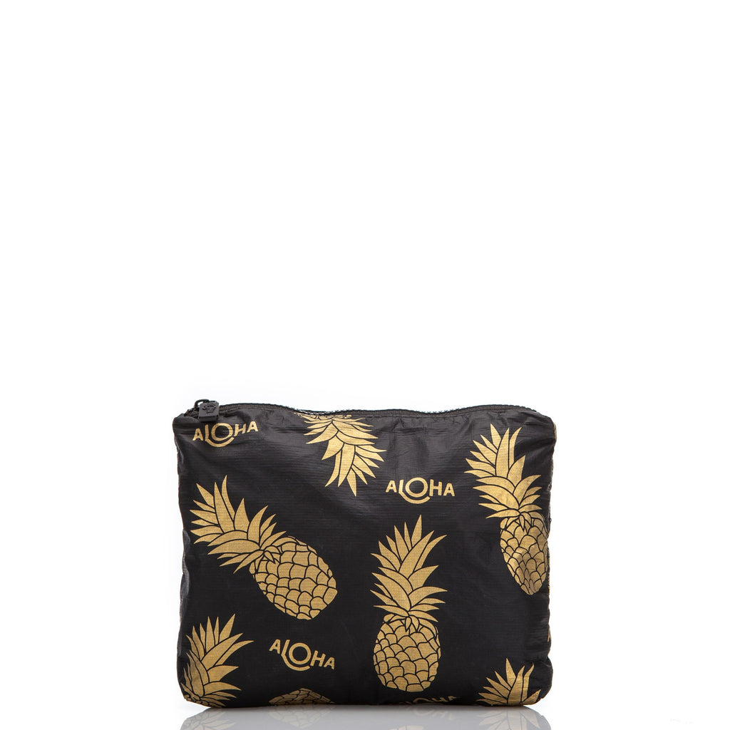 Pineapple Fields Small Pouch Black & Gold