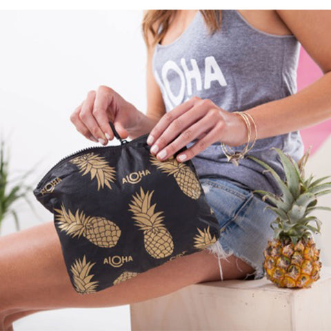 Mermaid Small Pouch Black & Gold