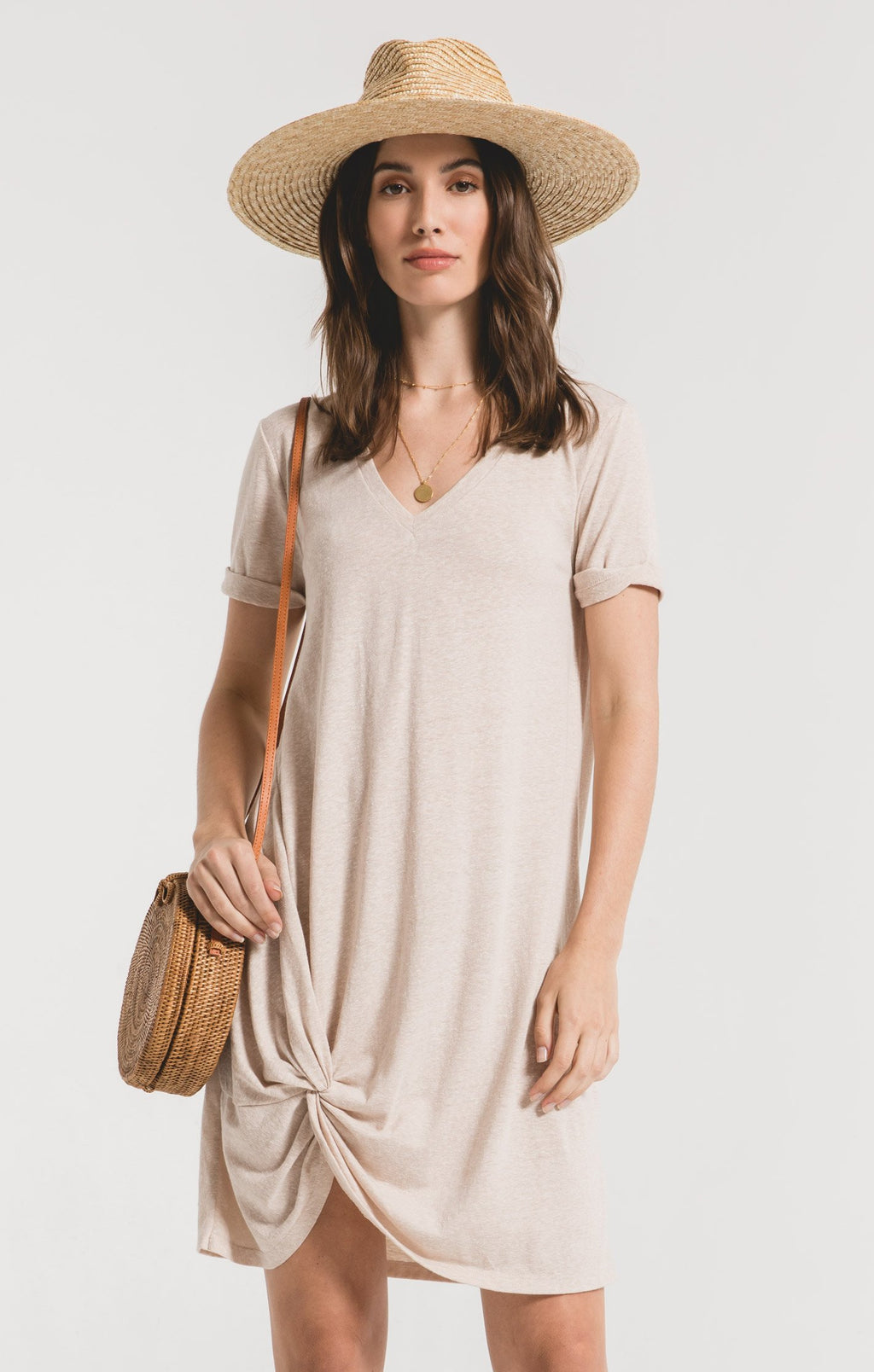 Side Knot Dress Oatmeal
