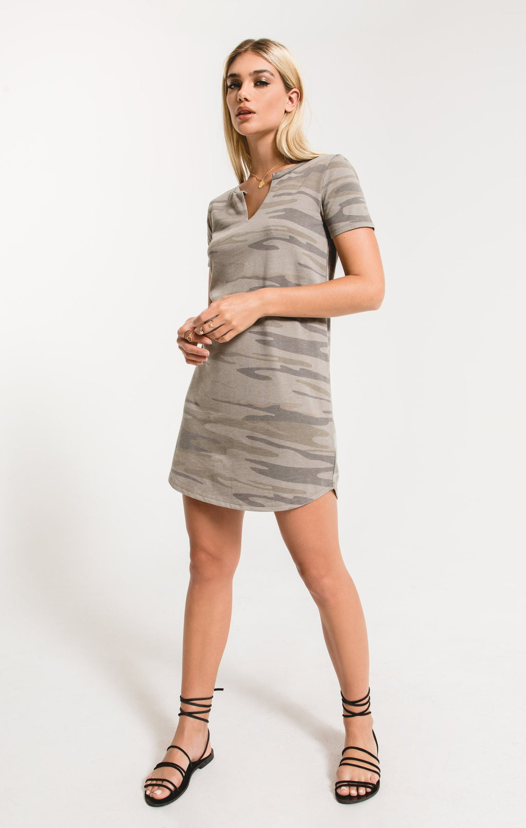 Camo Split Neck Dress Light Sage