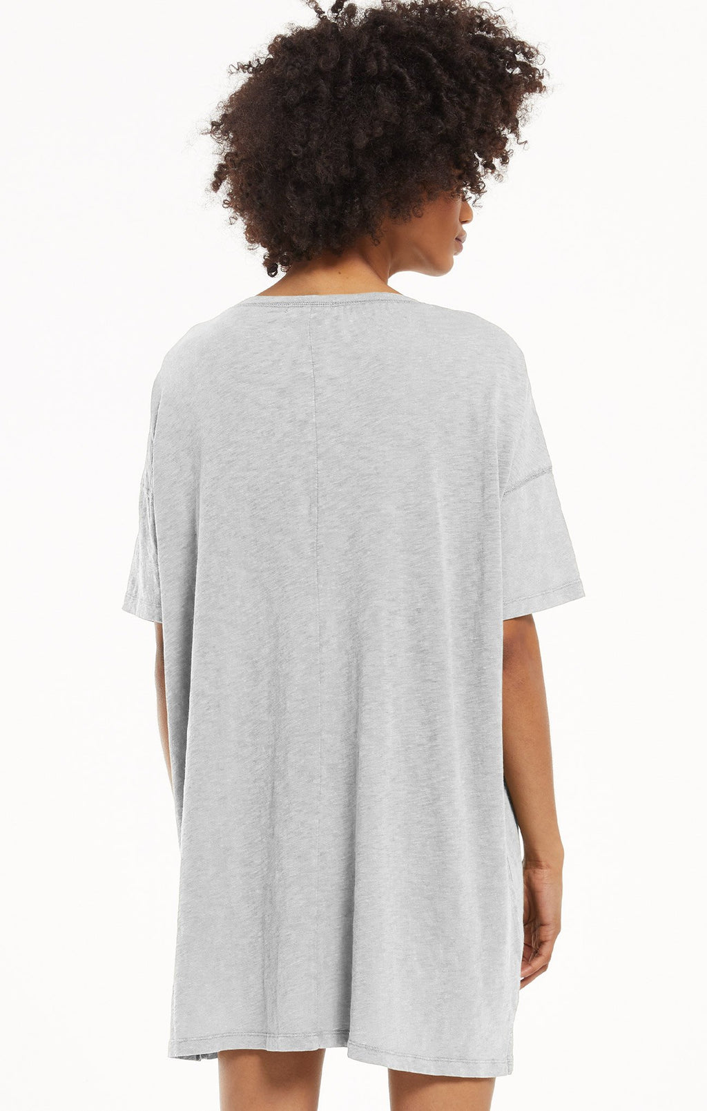 Delta Slub T-Shirt Dress Heather Grey