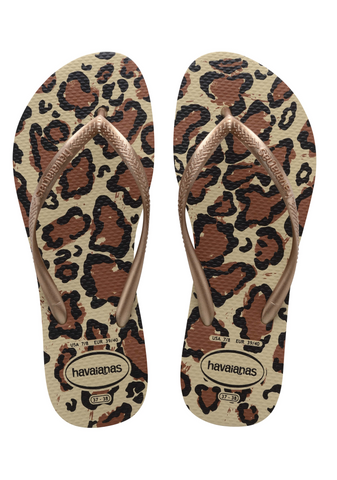 Slim Sandal Animal Beige/Rose Gold