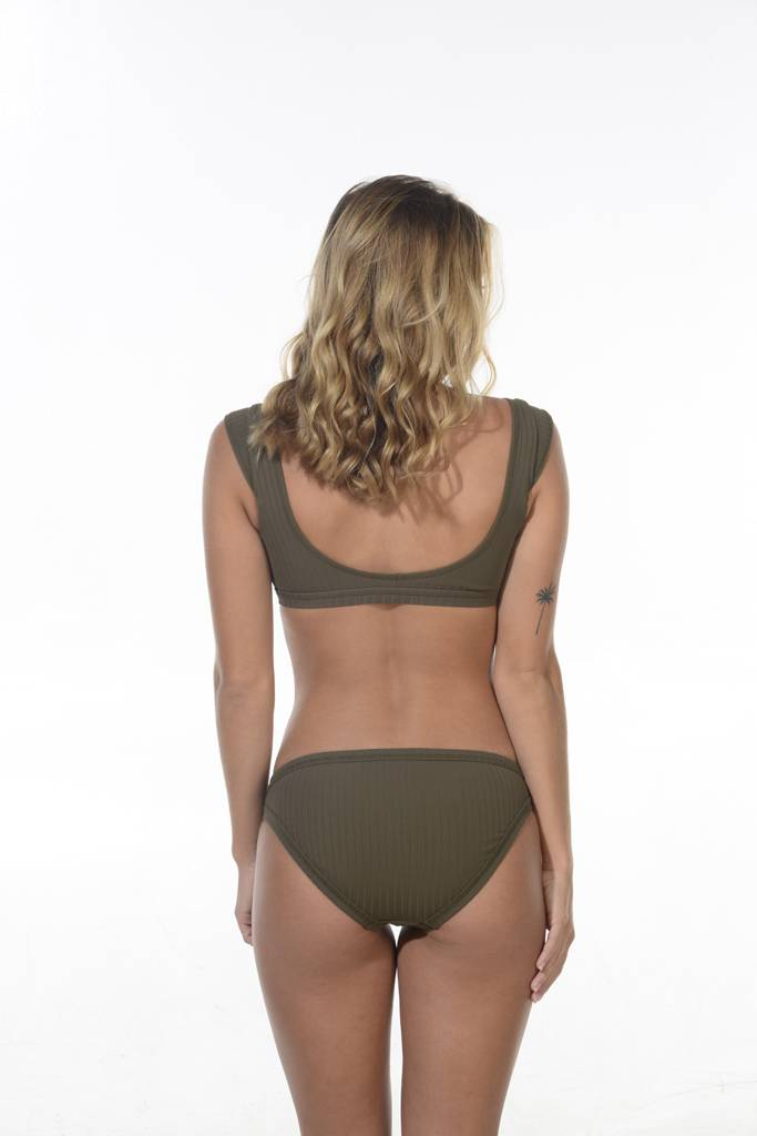 Wrap Front Crop Dark Olive
