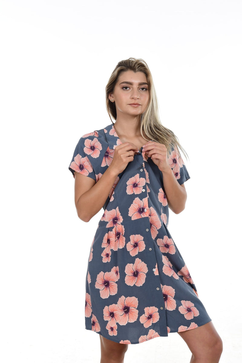 Lima Cotton/Silk Dress Hibiscus