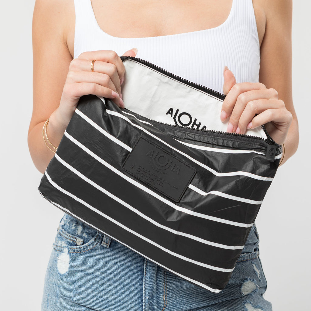 Black Pinstripe Mid Pouch