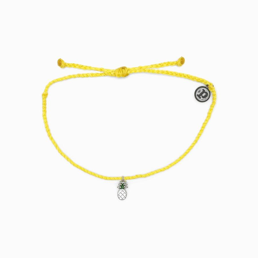 Silver Pineapple Yellow Bracelet
