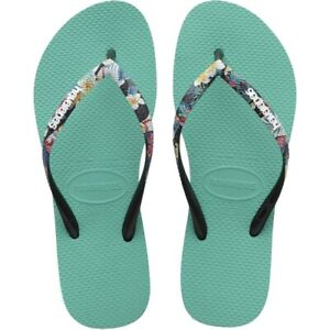 Slim Tropical Strap Sandal Lake Green