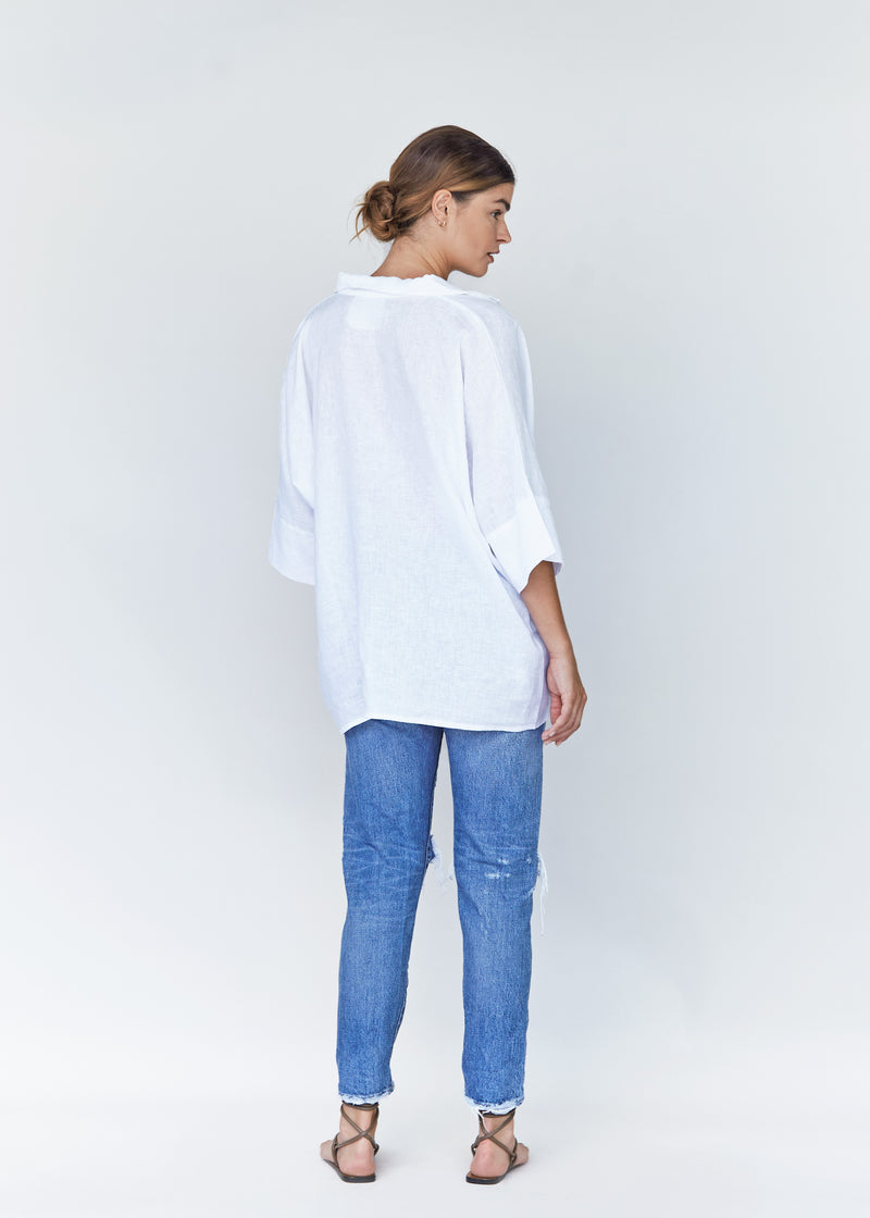Taos Linen Top Ivory