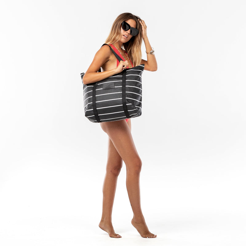 Black Pinstripe Zipper Tote