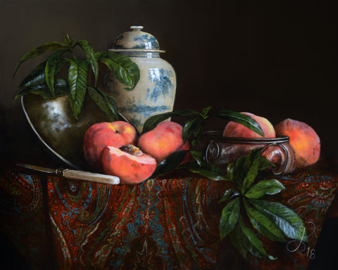 Still life with peaches and Kashmir Shawl - oil on linen - 50 X 40 cm