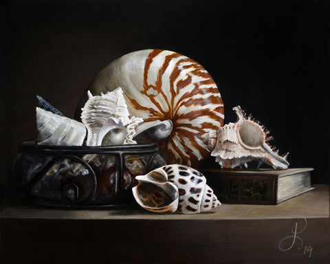 Still life with Nautilus and a book - oil on linen - 50 X 40 cm
