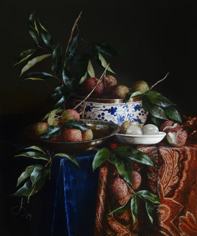 Still life with Lychees and Kashmir Shawl - oil on linen - 50 X 60 cm