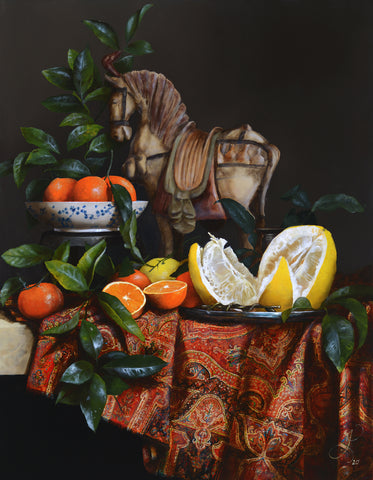 Still life with citruses and Kashmir Shawl - oil on linen - 90 X 70 cm