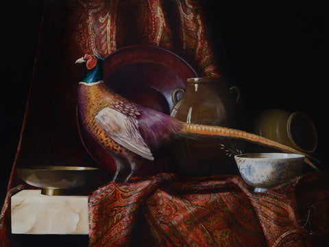 Still life with pheasant and Kashmir Shawl - oil on linen - 80 X 60 cm