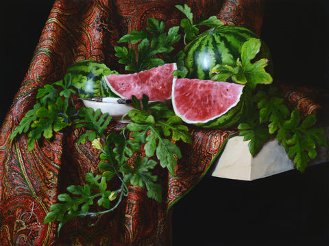 Still life with watermelons and Kashmir Shawl - oil on linen - 80 X 60 cm
