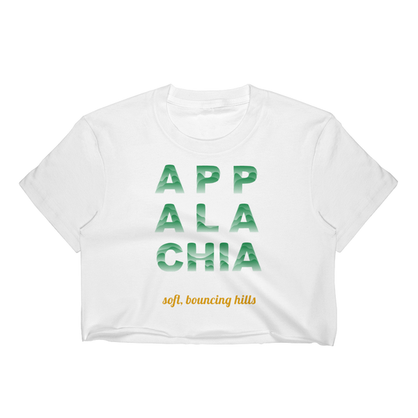 Graphic design crop top by INTO OUTOF studio, digital art, Appalachian Mountains, scenic nature, bouncing hills, and the wonderful outdoors that welcomes us