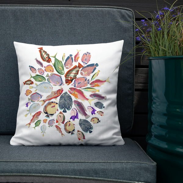 Illustrated tropical fish mandala // Premium Pillow