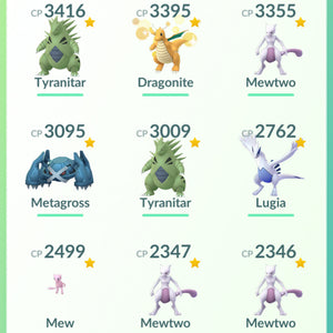 Legendary Account - 34 level - 401 Pokemon - Team Mystic #725