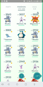 Legendary Account - 40 level - 1760 Pokemon - Team Mystic #198