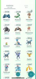 Legendary Account - 33 level - 270 Pokemon - Team Mystic #804