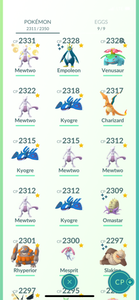 Legendary Account - 40 level -  2300 Pokemon - Team Mystic #812