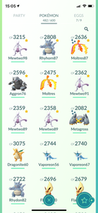 Legendary Account - 35 level - 482 Pokemon - Team Mystic #613