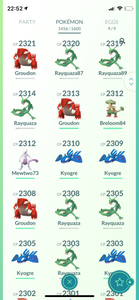 Legendary Account - 36 level - 1450 Pokemon - Team Mystic #628