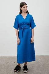 Kyoto Linen Dress Cobalt