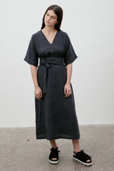 Kyoto Linen Dress Navy