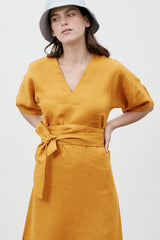 Kyoto Linen Dress Saffron