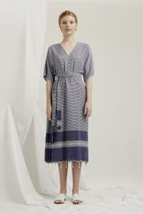 Kyoto Dress -Navy Turkish Weave AVAILABLE NOV 24TH