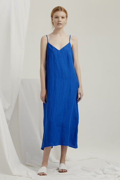 Slip Dress - Cobalt Blue Linen