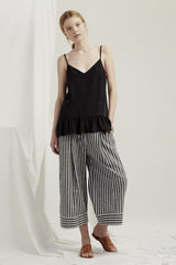 Luna Pants - Grey Chambray Stripe