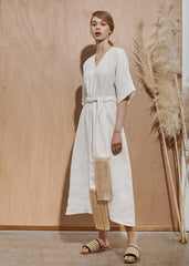 Kyoto Dress with tassel belt - Chalk