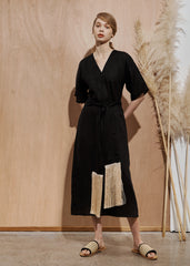 Kyoto Dress with tassel belt- Black